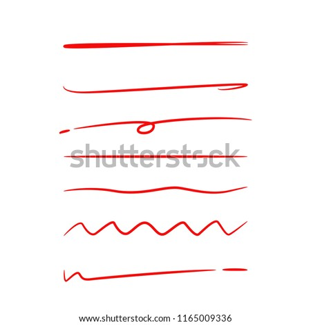 red hand drawn underlines and marker elements