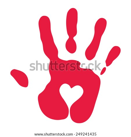 Red Hand Print with Heart Symbol