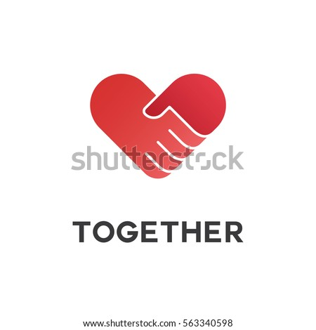 Red hand shake  with heart Logo concept