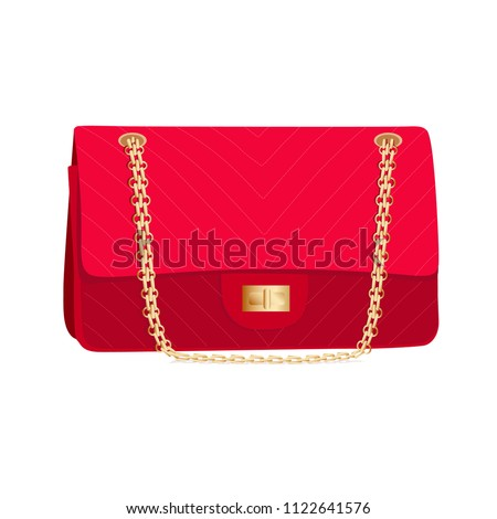 Red handbag like Chanel isolated on white background
