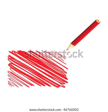 Red handwritten rectangle, vector illustration