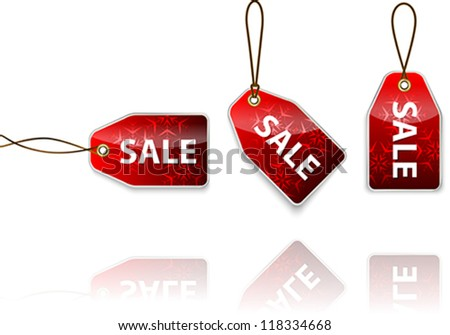 Red hanging tags with the word sale. Shopping labels. Vector illustration