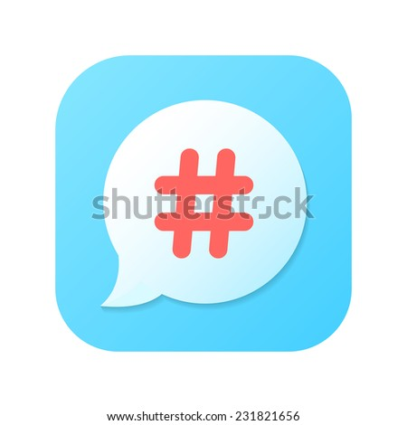 red hashtag icon on blue gradient speech bubble. concept of number sign, social media, social networks, short messages, microblogging. isolated on white background. trendy modern vector illustration