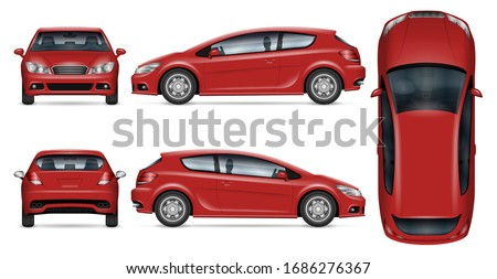 Red hatchback car vector mockup on white for vehicle branding, corporate identity. View from side, front, back, and top. All elements in the groups on separate layers for easy editing and recolor
