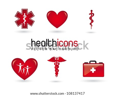 red health icons with shadow over white background. vector