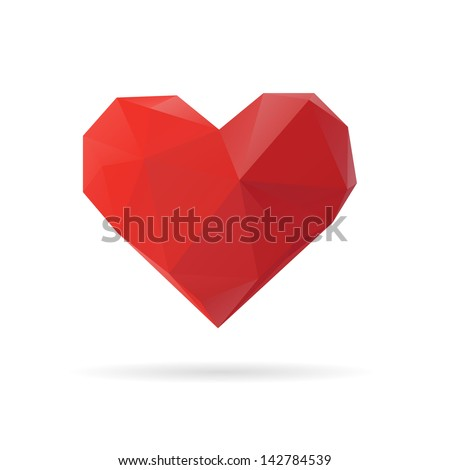 Red heart abstract isolated on a white backgrounds