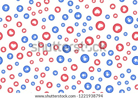 Red Heart and blue thumbs up flat style logos abstract background. Facebook like concept. Love, sale, design concept. Vector illustration