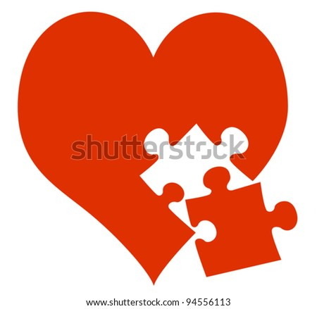 red heart and missing piece - stock vector