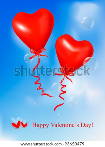 Red heart balloons in blue sky. Valentine background. Vector.
