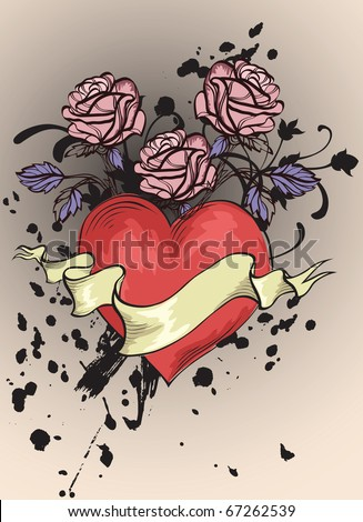 red heart, banner and roses