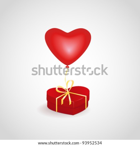 Red heart box with balloon. Valentine's day vector illustration
