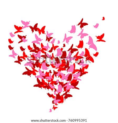 red heart  butterflies