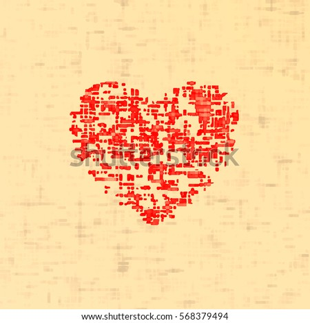 red heart canvas texture