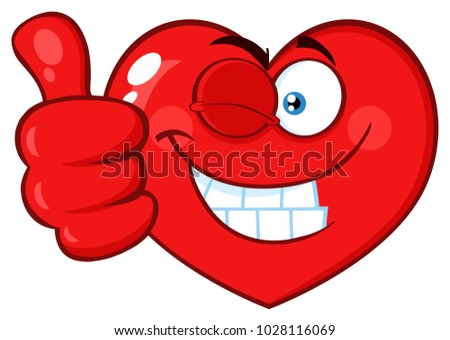 Red Heart Cartoon Emoji Face Character Winking and Giving A Thumb Up. Vector Illustration Isolated On White Background