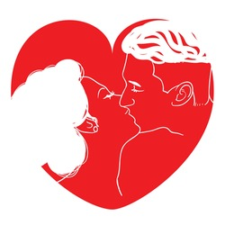 Red heart couple  kissing abstract valentineday illustration
