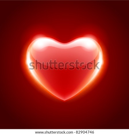 Red heart design element. Vector illustration eps 10. Easy replace background.