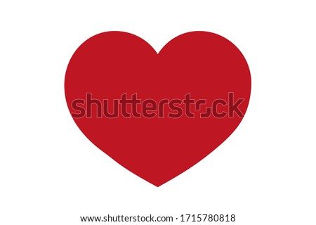 Red heart design icon flat. Valentine's Day sign, emblem isolated on white background