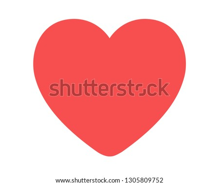 Red heart design icon flat. Valentine's Day sign, emblem isolated on white background, Flat style for graphic and web design, logo
