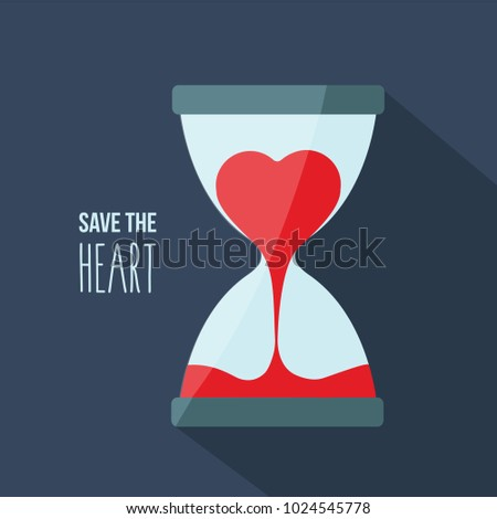 red heart flow in hourglass