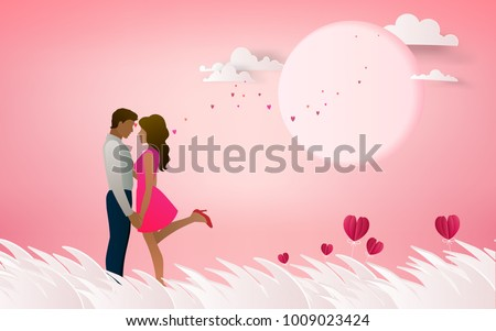 Red heart flower on pink background with  couple kissing on honeymoon vacation summer holidays romance. Love concept. Happy Valentine's Day wallpaper, poster, card. Vector illustration.
