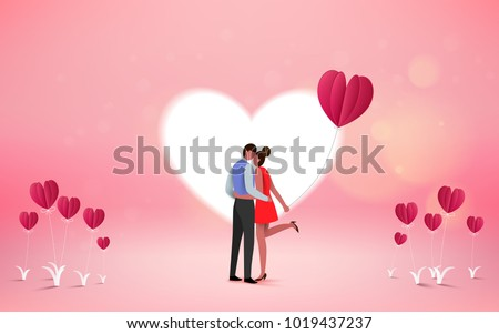 Red heart flower on pink background with  sweet couple on honeymoon vacation summer holidays romance. Love concept. Happy Valentine's Day wallpaper, poster, card. Vector illustration.