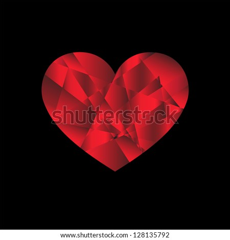 Red heart from fragments Vector