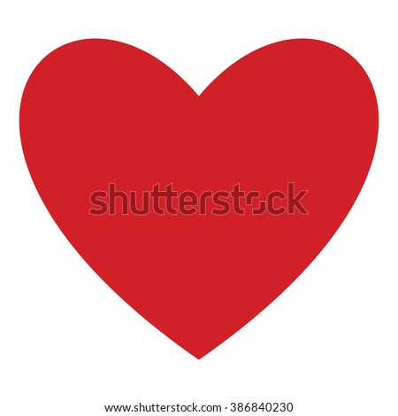 Red heart icon isolated on white background. Modern flat valentine love sign. Trendy vector hart shape, symbol for web site design, button to mobile app. Logo heart illustration.