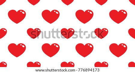 Red Heart Icon Love Valentine Day Cartoon Doodle Vector Seamless Pattern  Isolated Background Wallpaper
