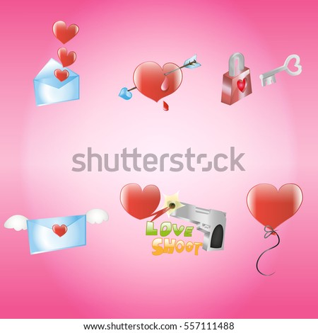 Red heart icon , Valentine day icon on pink background #557111488