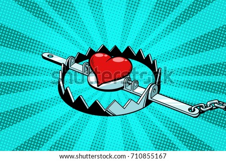 red heart in an iron trap love