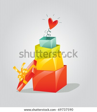red heart in colorful gift box