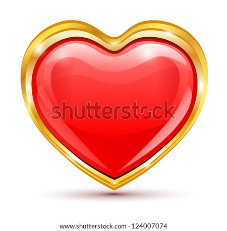 red heart in golden frame on a white background. vector.