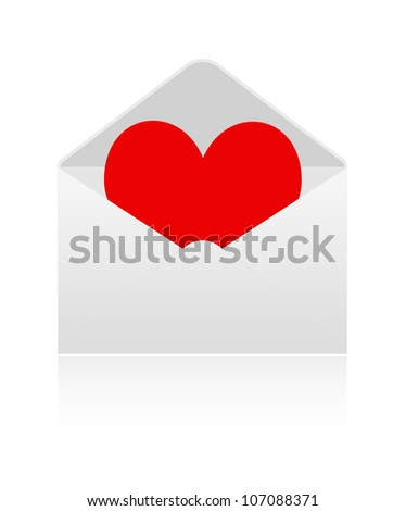 Red heart into envelope on white background
