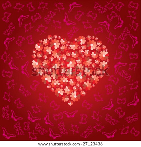 Red heart is filled by colors of love