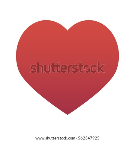 Red heart isolated on white background vector illustration