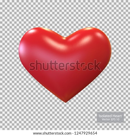 Red heart isolated, vector.Valentine's Day .Realistic 3D Heart.