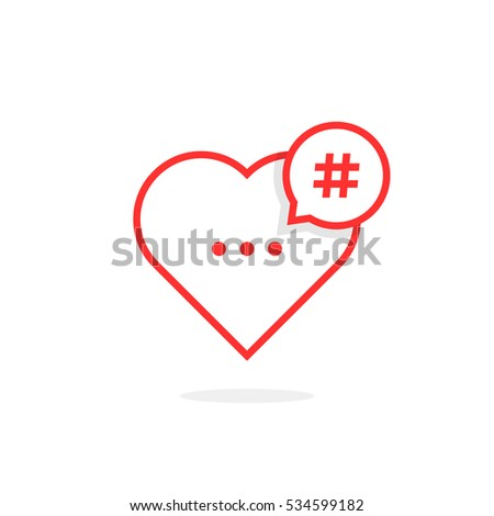 red heart like hashtag logo