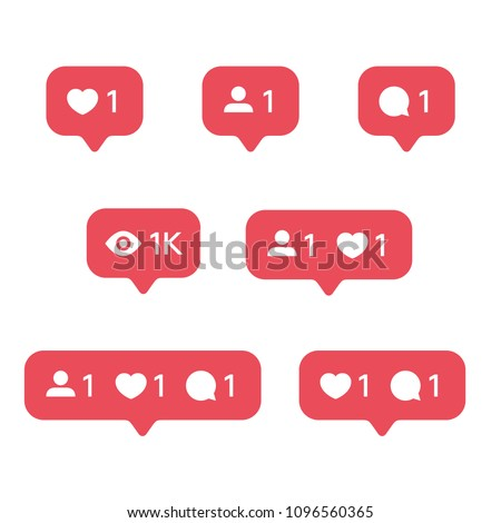 Red Heart like, new message bubble, friend request quantity number notifications icons templates. Social network app icons.