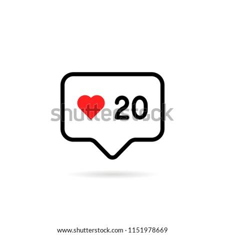 red heart like thin line love logo. concept of follower emblem community or good blog post. flat stroke trendy modern lineart winner logotype graphic art design element isolated on white background