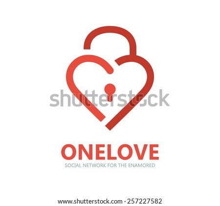 red heart lock vector logo
