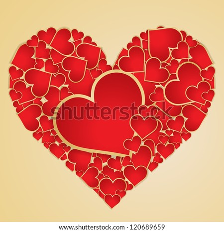 Red heart made with hearts. Vector.
