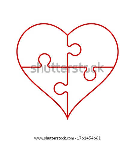 red heart outline in a shape of