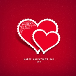 Red heart paper classic valentine's day vector illustration
