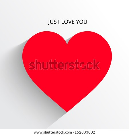 red heart paper sticker shadow