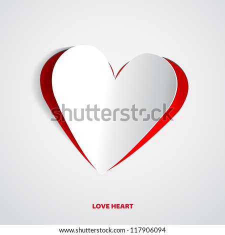 red heart paper sticker with