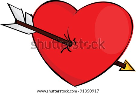 Red heart pierced arrow