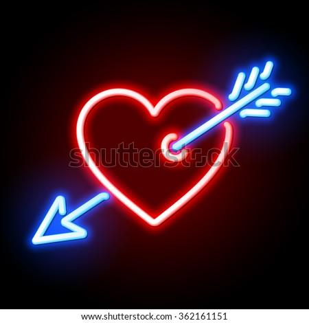 red heart pierced by cupids