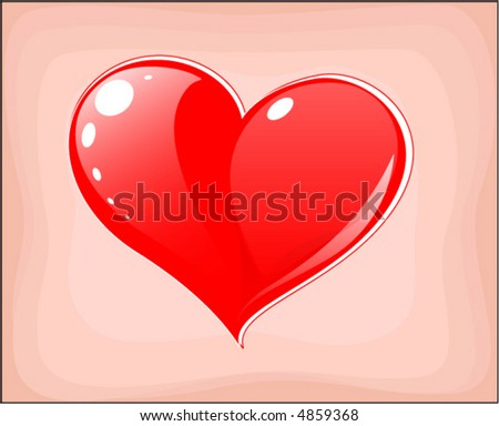 red heart  post card   vector