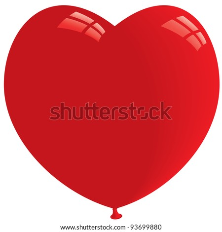 Red Heart Shape Balloon. Isolated on white. Vector format