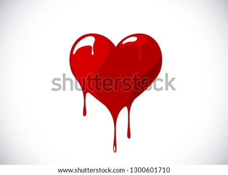 red heart shape melting with